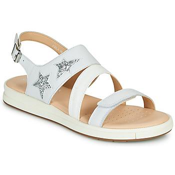 Pantofi Fete Sandale  Geox J SANDAL REBECCA GIR Alb / Argintiu