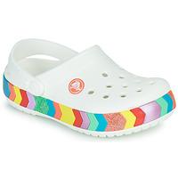 Pantofi Fete Saboti Crocs CROCBAND CHEVRON BEADED CLOG K Alb /  multicolor