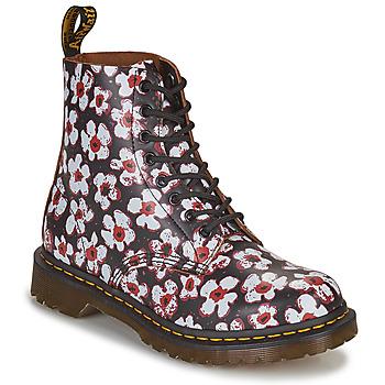 Pantofi Femei Ghete Dr Martens 1460 PASCAL Negru / Alb / Roșu
