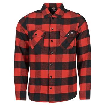 Îmbracaminte Bărbați Cămăsi mânecă lungă Dickies NEW SACRAMENTO SHIRT RED Roșu / Negru