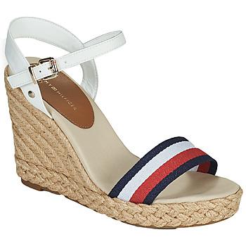 Pantofi Femei Sandale  Tommy Hilfiger SHIMMERY RIBBON HIGH WEDGE Alb