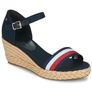 Pantofi Femei Sandale  Tommy Hilfiger SHIMMERY RIBBON MID WEDGE SANDAL Albastru