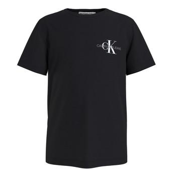 Îmbracaminte Băieți Tricouri mânecă scurtă Calvin Klein Jeans CHEST MONOGRAM TOP Negru