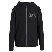 Îmbracaminte Băieți Hanorace  Calvin Klein Jeans HYBRID LOGO ZIP THROUGH Negru