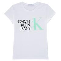 Îmbracaminte Fete Tricouri mânecă scurtă Calvin Klein Jeans HYBRID LOGO SLIM T-SHIRT Alb