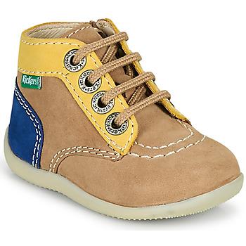Pantofi Băieți Ghete Kickers BONZIP-2 Bej / Galben / Albastru