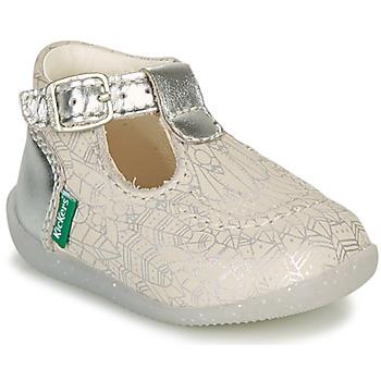 Pantofi Fete Balerin și Balerini cu curea Kickers BONBEK-2 Argintiu