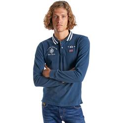 Îmbracaminte Bărbați Tricou Polo manecă lungă La Martina OMP325 JS005 Albastru