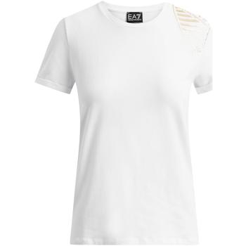 Îmbracaminte Femei Tricouri mânecă scurtă Ea7 Emporio Armani 6GTT07 TJ12Z Alb