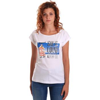 Îmbracaminte Femei Tricouri mânecă scurtă Key Up 5D72S 0001 Alb
