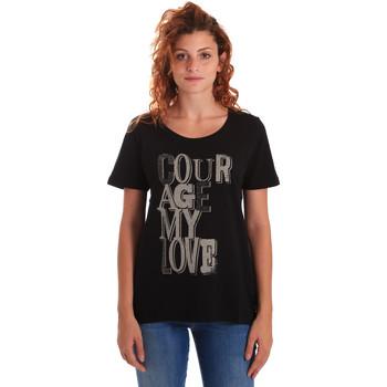 Îmbracaminte Femei Tricouri mânecă scurtă Key Up 5Z19S 0001 Negru