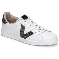 Pantofi Femei Pantofi sport Casual Victoria TENIS PIEL GLITTER Alb / Negru