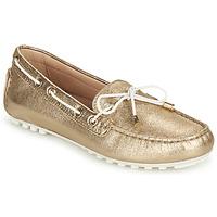 Pantofi Femei Mocasini Geox D LEELYAN C Auriu / Alb