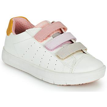 Pantofi Fete Pantofi sport Casual Geox SILENEX GIRL Alb / Roz / Bej