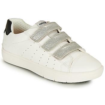 Pantofi Fete Pantofi sport Casual Geox J SILENEX GIRL B Alb / Argintiu / Negru