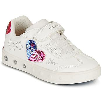 Pantofi Fete Pantofi sport Casual Geox SKYLIN GIRL Alb / Negru / Roz