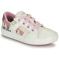 Pantofi Fete Pantofi sport Casual Geox GISLI GIRL Alb / Roz