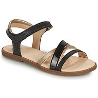 Pantofi Fete Sandale  Geox J SANDAL KARLY GIRL Negru / Auriu