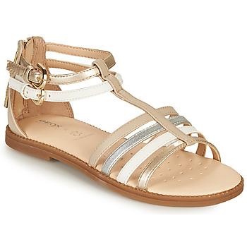 Pantofi Fete Sandale  Geox SANDAL KARLY GIRL Bej / Argintiu / Alb