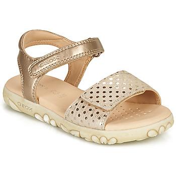 Pantofi Fete Sandale  Geox SANDAL HAITI GIRL Bej / Auriu