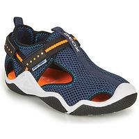Pantofi Băieți Sandale sport Geox JR WADER Albastru / Portocaliu