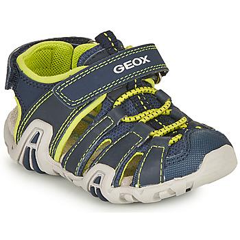Pantofi Băieți Sandale sport Geox SANDAL KRAZE Albastru / Lime