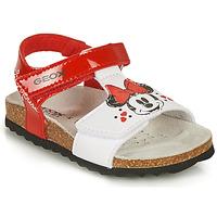 Pantofi Fete Sandale  Geox SANDAL CHALKI GIRL Roșu / Alb