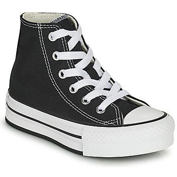 Pantofi Fete Pantofi sport stil gheata Converse CHUCK TAYLOR ALL STAR EVA LIFT CANVAS COLOR HI Negru