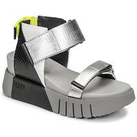 Pantofi Femei Sandale  United nude DELTA RUN Negru / Argintiu