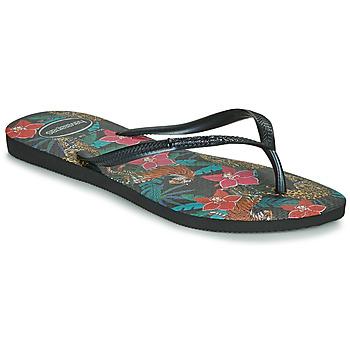 Pantofi Femei  Flip-Flops Havaianas SLIM TROPICAL Negru / Gri