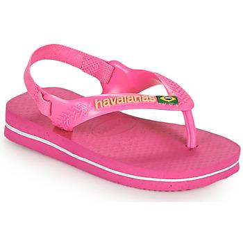 Pantofi Fete  Flip-Flops Havaianas BABY BRASIL LOGO II Roz