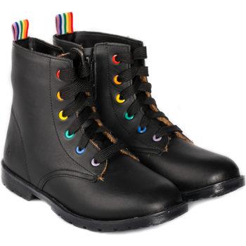 Pantofi Fete Ghete Bibi Shoes Ghete Fete Bibi Coturno Black cu Blanita Negru