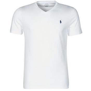 Îmbracaminte Bărbați Tricouri mânecă scurtă Polo Ralph Lauren T-SHIRT AJUSTE COL V EN COTON LOGO PONY PLAYER Alb