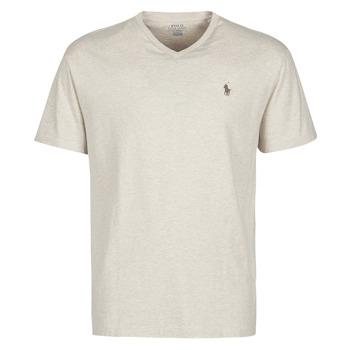 Îmbracaminte Bărbați Tricouri mânecă scurtă Polo Ralph Lauren T-SHIRT AJUSTE COL V EN COTON LOGO PONY PLAYER Bej