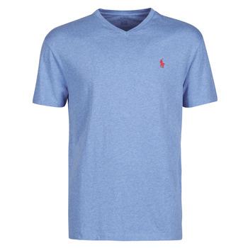 Îmbracaminte Bărbați Tricouri mânecă scurtă Polo Ralph Lauren T-SHIRT AJUSTE COL V EN COTON LOGO PONY PLAYER Albastru