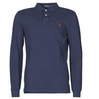 Îmbracaminte Bărbați Tricou Polo manecă lungă Polo Ralph Lauren POLO AJUSTE DROIT EN COTON BASIC MESH LOGO PONY PLAYER Albastru