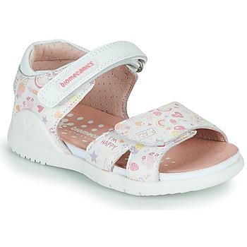 Pantofi Fete Sandale  Biomecanics 212165 Alb / Multico