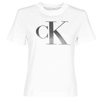 Îmbracaminte Femei Tricouri mânecă scurtă Calvin Klein Jeans SATIN BONDED FILLED CK TEE Alb