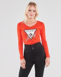 Îmbracaminte Femei Tricouri cu mânecă lungă  Guess LS VN ICON TEE Roșu