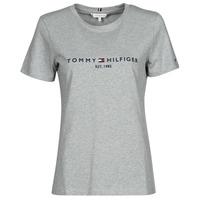 Îmbracaminte Femei Tricouri mânecă scurtă Tommy Hilfiger TH ESS HILFIGER C-NK REG TEE SS Gri