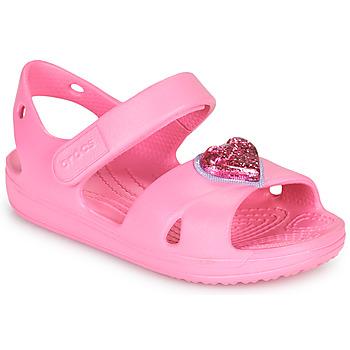 Pantofi Fete Sandale  Crocs CLASSICCROSSSTRAPCHARMSANDAL T Roz