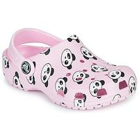 Pantofi Fete Saboti Crocs CLASSIC PANDA PRINT CLOG K Roz / Panda