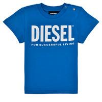 Îmbracaminte Băieți Tricouri mânecă scurtă Diesel TJUSTLOGOB Albastru