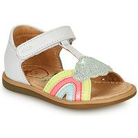Pantofi Fete Sandale  Shoo Pom TITY RAINBOW Alb