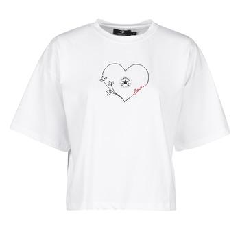 Îmbracaminte Femei Tricouri mânecă scurtă Converse CHUCK WOMENS LOVE BOXY TEE Alb