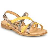 Pantofi Fete Sandale  Citrouille et Compagnie GENTOU Galben / Argintiu