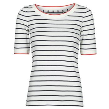 Îmbracaminte Femei Tricouri mânecă scurtă Esprit RAYURES COL ROUGE Alb