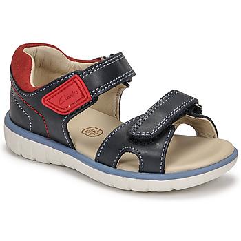 Pantofi Băieți Sandale  Clarks ROAM SURF K Albastru / Roșu