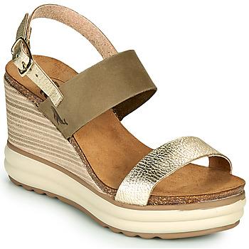 Pantofi Femei Sandale  Plakton PLAKA Kaki / Auriu