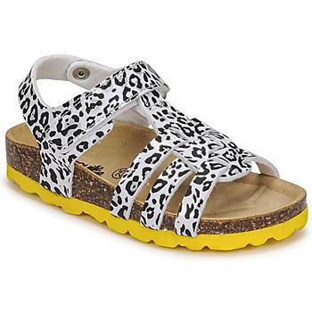 Pantofi Fete Sandale  Citrouille et Compagnie JANISOL Leopard / Alb / Negru